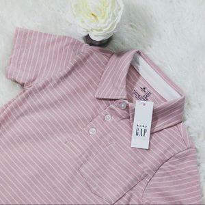 New Baby Gap Pink/White Striped Polo Shirt